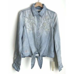 NWT Blanknyc Embroidered Chambray Button Up Shirt